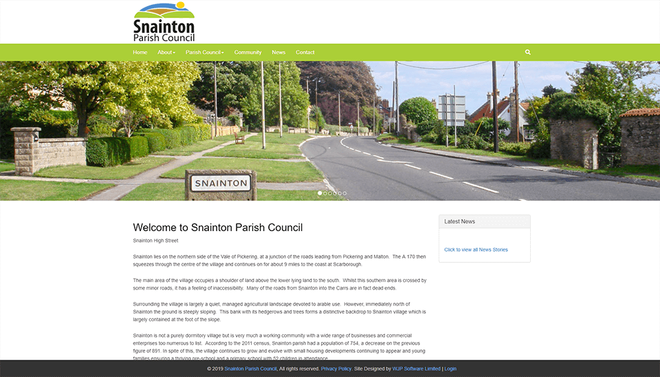 Snainton Website Screenshot